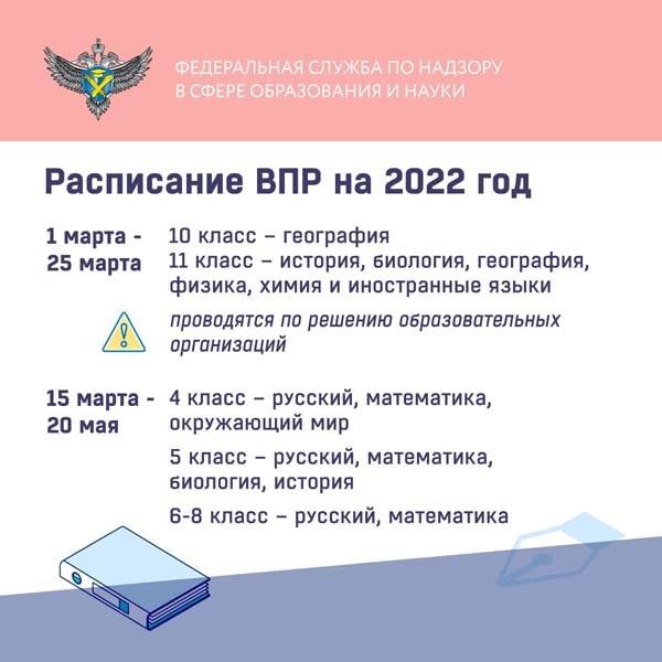 Расписание ВПР 2022
